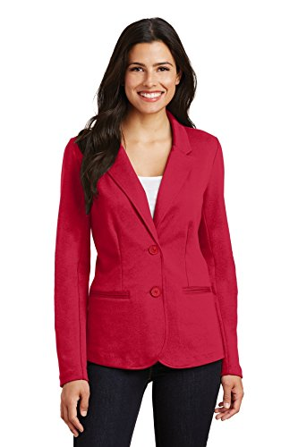 Womens Prestige Cotton Jacket (Port Authority Ladies Knit Blazer. LM2000 Rich Red S)