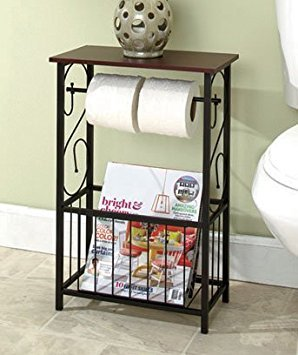 (Decorative Bathroom Toilet Paper Storage Table Stand Wooden Top Restroom Toiletry Items Holder with Metal Frame Magazine Rack)