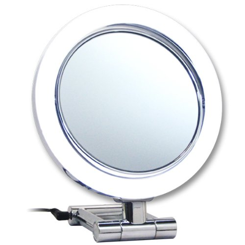 Rucci Normal View LED Chrome Stand Mirror, 10X