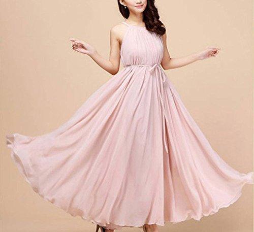 avec femme mousseline ete plage longue Violet femme robe Rose de vintage Taille robe clair Unique robe cocktail halter longue robe Hoverwin ceinture q8ZEw