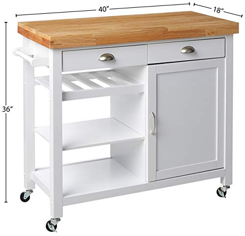 Target Marketing Systems Hudson Storage Kitchen Cart, White/Natural