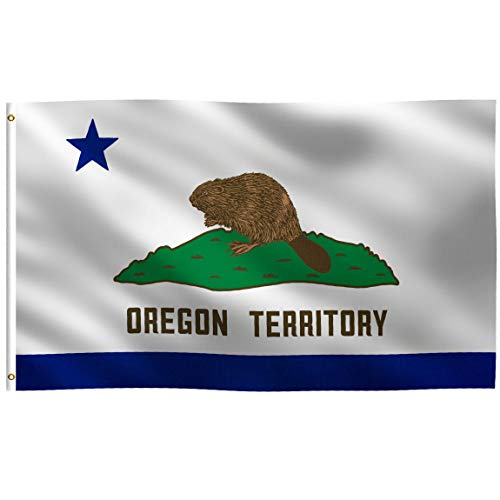 K-AXIS 3x5 Foot Oregon Territory (California Style) Flag: 100% Polyester Banner, Strong Canvas Header with 2 Brass Grommets, UV Resistant Vibrant Digital Print, for Use Outdoor or Indoor ()