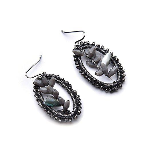 Fancy Thread Earrings (YIFEI BOHO Woven Dangle Earrings Big Drop Handmade Woven Thread Earrings(Dark Grey))