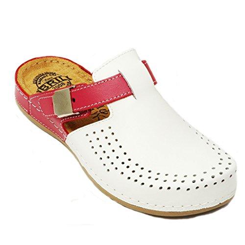 Scarpe Sabot rosa Zoccoli Punto Donna Rosso Pelle Bianco Pantofole Dr Y77 BRIL qx7fHT6