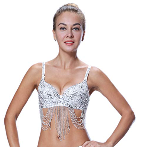 Seawhisper Pole Dancer Outfit Silver Sequin Bra Top 32B-34A-34B