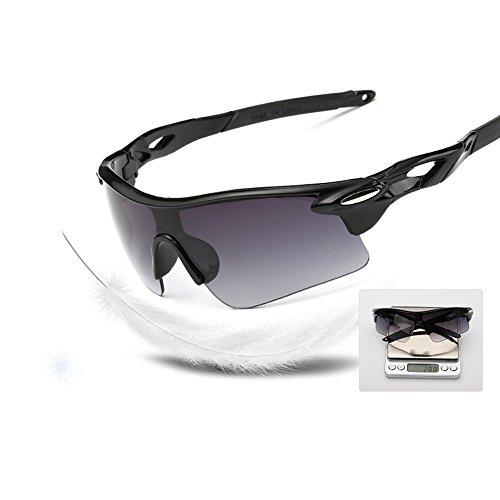 KXN Fashion Polarized Cycling Outdoor Sports UV400 Protection Sunglasses Goggles for men women Baseball Running Cycling Fishing Golf (Black&Black - Uv400 Meaning Sunglasses