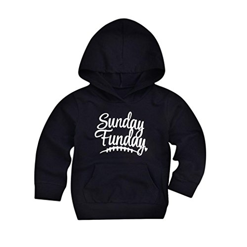 Price comparison product image 0-4 Years Old Toddler Kids Boys Girls Hooded Pullover Sweatshirt Black Casual Letter Tops Hoodie Pockets Outfits (Black C,  4T3-4 Years)