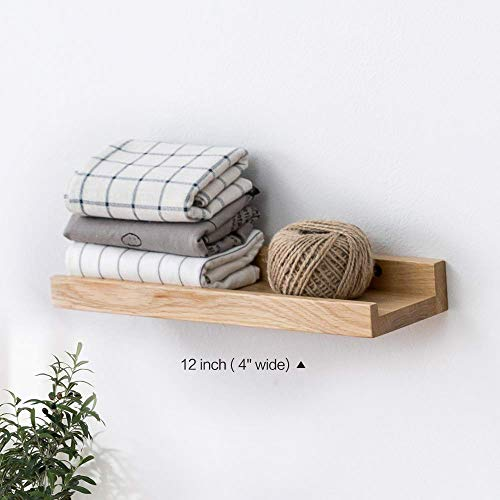 INMAN Floating Shelves Display Wooden Wall Mount Ledge Shelf Picture Record/Album Photo Ledge Small Hanging Kids Wall Bookshelf for Bedroom Kitchen Office Home Décor (Oak, -
