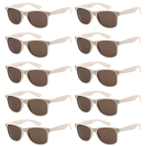 WHOLESALE UNISEX 80'S RETRO STYLE BULK LOT PROMOTIONAL SUNGLASSES - 10 PACK (French Vanilla / Ash Brown, 52 mm)