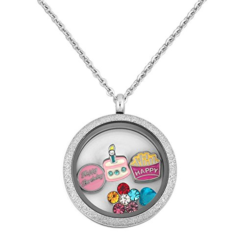 - Q&Locket Happy Birthday Cake Flower Floating 316L Stainless Steel Screw Style Locket Necklace