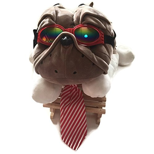 HOT! 1 Set Adjustable Large Dog Striped Cotton Necktie + Dog glasses eye wear waterproof Dog UV Protection Sunglasses Suitable for Photo Props, Outdoor, Costume (L, Red Goggle + Red Necktie)
