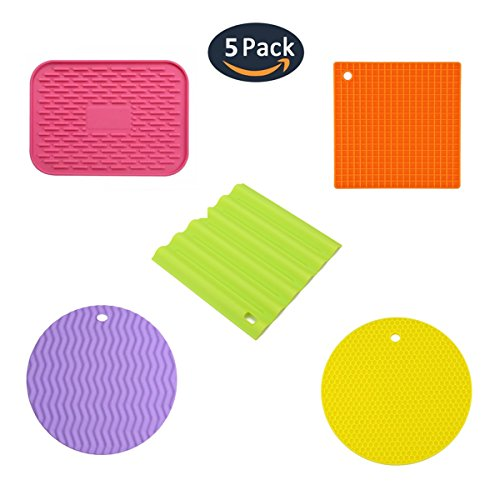 Premium Silicone Pot Holders,Heat insulated Pads,Heat Proof Mat(Set of 5),Trivet Mat, Pan,Bowl Spoon Rest-- Multi-Purpose Square and Round Cooking Hot Pads of Kitchen Tools,Non-Slip,Heat Resistant by Greenow
