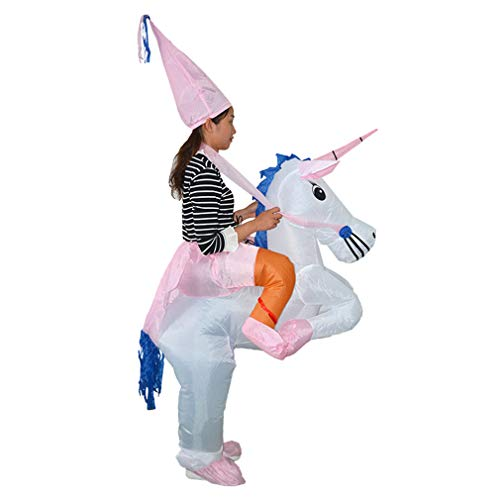 HHARTS Unicorn Inflatable Costume Blow Up Costume Suit Halloween Cosplay Party Christmas Horn Horse Inflatable Costume (Pink)]()