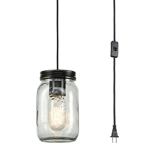 - EUL Classic Mason Jar Light Fixture Clear Glass Hanging Lamp Plug-in Pendant Lighting, Oil Rubbed Bronze