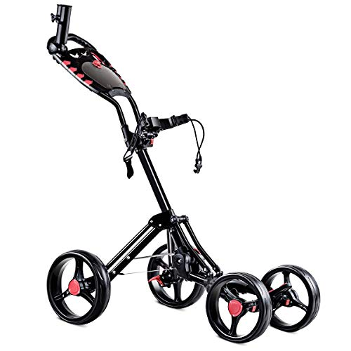 - Tangkula Golf Push Cart 4 Wheels Folding with Umbrella Scorecard Drink Holder Golf Pull Cart