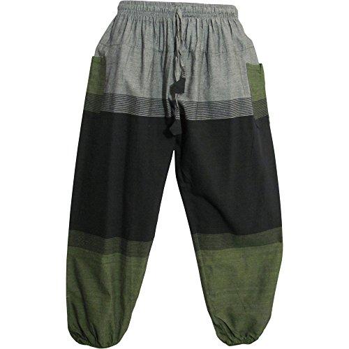 (Men's Bohemian Vintage Hippie Yoga Geometric Print Cotton Harem Pants (Black Green))