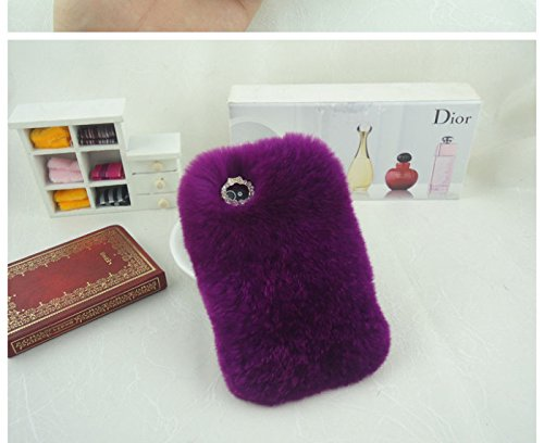 ACC5Star(TM) Extreme Deluxe Bling 3D Diamond Crystal Chain Tiny Bow Bowknot Winter Soft Warm Fur Case Cover Skin for Samsung Galaxy S4 i9500 + High Quality Random Color Stylus + 10*15 Cm Green Soft Clean Cloth with Logo - Purple