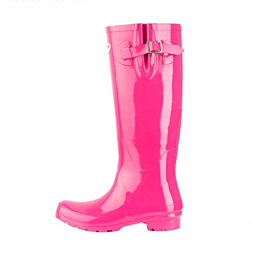 Wellies Winter Shoes Spring Anti Snow Tall Summer Gloss Boots Women's Rain Pink2 Rain Rubber for Slip a16qESwn