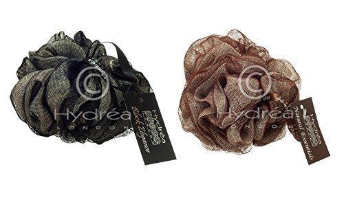 Hydrea di alta qualità per vasca da bagno, doccia esfoliante corpo & Puff/Buffer: Cioccolato/Scrunchie &&& colore: panna, confezione da 2, colore: nero