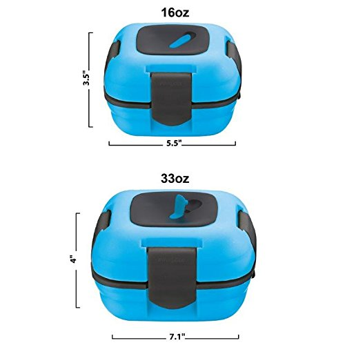 Pinnacle Thermoware Insulated Leak Proof Thermal Lunch Container with Heat Release Valve, Set of 2, Blue