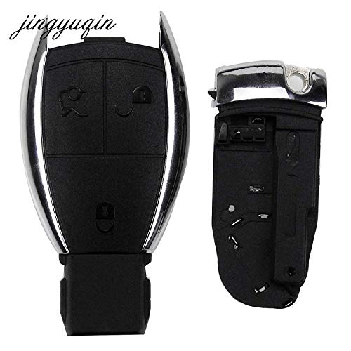 FIESTA jingyuqin for Mercedes 3 Button Remote Car Key Case Fob Shell for Benz C E R S CL GL SL CLK SLK W203 fob + Battery Holder Clamp