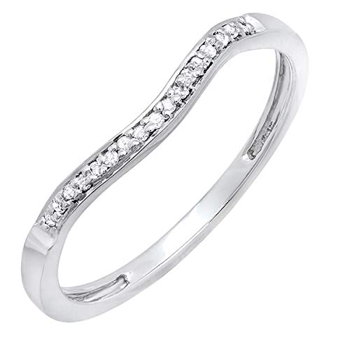 Dazzlingrock Collection 0.10 Carat (ctw) Round White Diamond Ladies Wedding Guard Band Ring 1/10 CT, Sterling Silver, Size 7