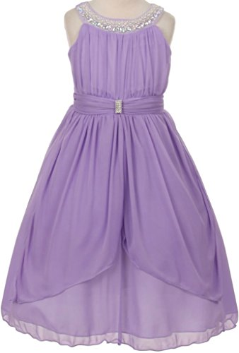 Flower Girl Beaded Neck Trim Chiffon Special Occasion Dress for Little Girl Lavender 14 (Little Kids Lavender Apparel)