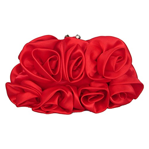 (LUOEM Evening Bags Ruffle Silk Evening Clutch Bags Rose Flower Kiss Lock Bags (Red))