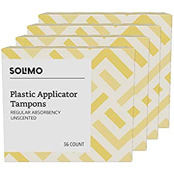 Amazon Brand - Solimo Plastic Applicator Tampons, Regular Absorbency, Unscented, 144 Count