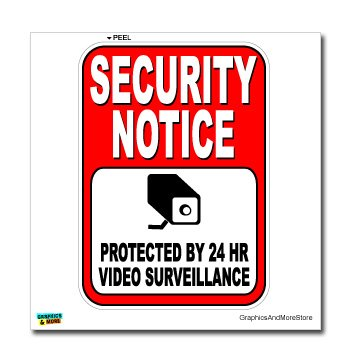 Amazon.com: Security Notice Protected by 24 Hour Video ...