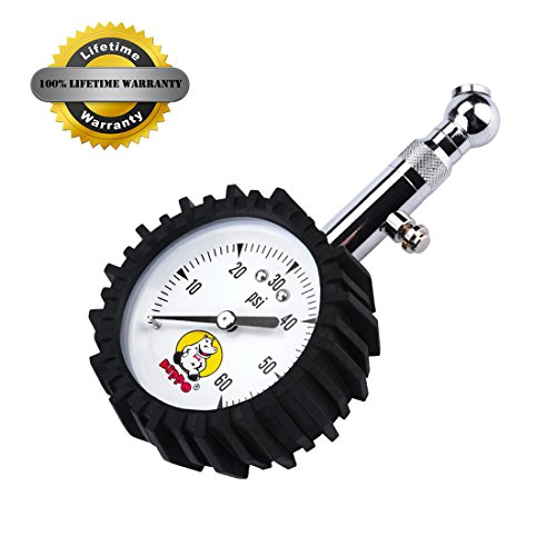 Hippo High Accuracy Rubber Protection Portable Tire Pressure Gauge, 60 Psi Dual Layer Protection, Saves Fuel For Cars, Motorcycles and Utility Vehicles