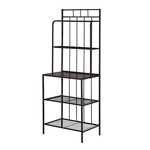 Target Marketing Systems Liv Collection Contemporary Metal Kitchen Dining Baker's Rack with Three Shelves, Black