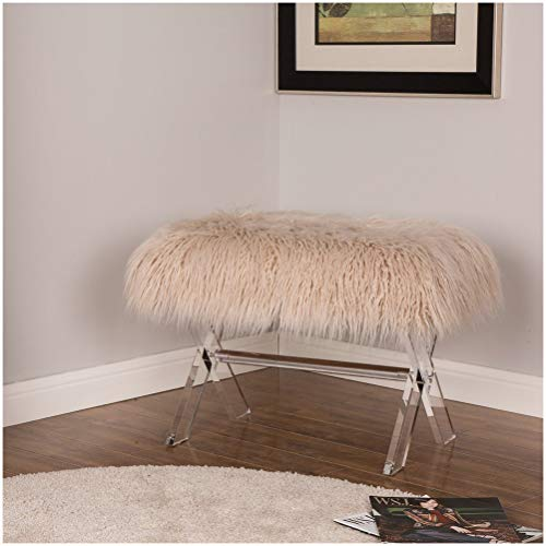 Glitzhome Luxurious Faux Fur Bench with Acrylic Legs Bedroom Furniture Khaki 25.59 Inch Length