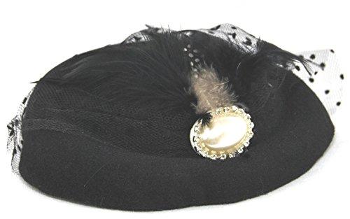 Miniature Pill Box Pillbox Hat Fascinator - Multiple Color Options (Black) ()