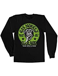 Officially Licensed Merchandise Gas Monkey Garage - Green Logo Long Sleeve Tee (Black)
