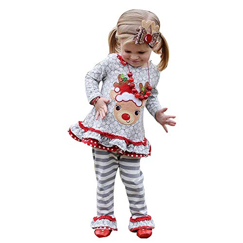 Christmas Girl Outfits,Fineser Cute Toddler Kids Baby Girl Christmas Deer Ruffle T-Shirt Tops+Stripe Flare Pants Outfits Sets