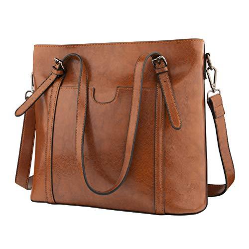 GENESS Herren Umhängetasche, Premium Messenger Bag Schultertasche Herrentasche, Kuriertasche Laptoptasche für Zoll Laptop, Unisex Casual Vintage Arbeitstasche Studententasche Umhänge Tasche (Braun Die Tasche)
