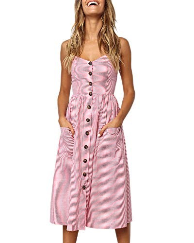 Chuanqi Womens Dresses Spaghetti Strap Backless Button Down Swing Midi Dress with Pockets Pink ()