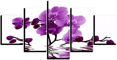 100 Genuine Real Hand Painted Purple Orchid Flower 5 Pieces Canvas Oil Painting for Home Wall Art Decoration, Not a Print Giclee Poster, FRAMED, READY TO HANG