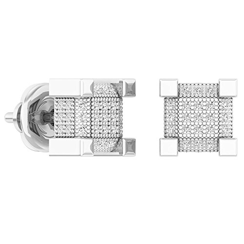 0.33 Carat (ctw) Sterling Silver Diamond Dice Shaped Hip Hop Mens Cube Earrings 1/3 CT by DazzlingRock Collection