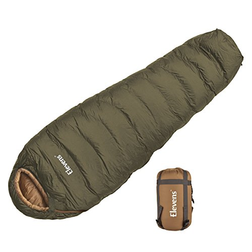 H&A Ultralight Down Sleeping Bag Mummy Shape for Adults Camping Backpacking with Waterproof Compression Stuff Sack (Olive)