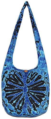 TIE DYE Crossbody Bohemian Shoulder Bag Hobo Purse Big 39 (Blue)