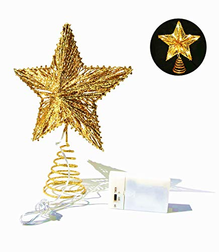 CN CRAFTS 3D Christmas Tree Topper Star, Hallow Glittered Metal Treetop Star with Timer Warm White LED 10-Lights (Three Functions), 8.5 X 10.5 Inch (Gold)