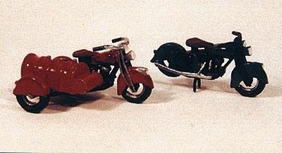 HO Scale Motorcycles - Classic 1947 Model 2-Pack -- 1 Stock, 1 w/Fuel Tank Sidecar