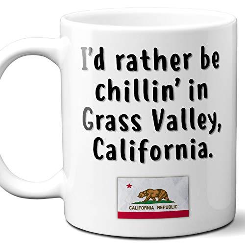 "Grass Valley California Coffee Mug Souvenir Gift.""Chillin In"" With CA Flag. 11 Ounces"