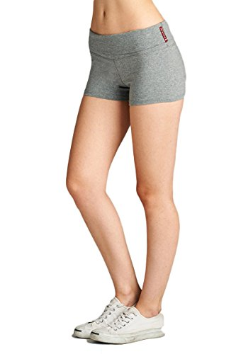 Emmalise Active Junior Women Fold Over Low Rise Short Cotton Spandex Yoga Workout Dance - Heather Gray, Small (Gray Lycra Spandex)