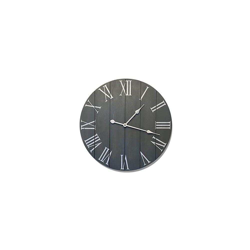 "24"" Large Gray Farmhouse Wall Clock - Rustic Farmhouse Clock - Wood Farmhouse Clock - Rustic Vintage Decoration - 24 Wall Clock Grey - Big Rustic Clock - Farmhouse Wall Clock 24 - Large Wall Clock 24"