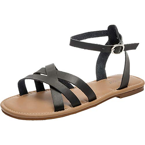 - Women's Wide Summer Flat Sandals - Open Toe One Band Ankle Strap Flexible Shoes.(181262 Black,11)