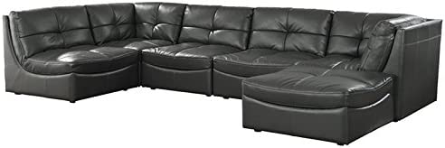 Furniture of America Onta Contemporary Faux Leather Sectional