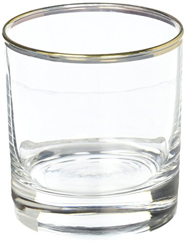- Luminarc 4 Piece Metallic 10.5 oz Gold Rimmed Aristocrat Double Old Fashioned, Clear
